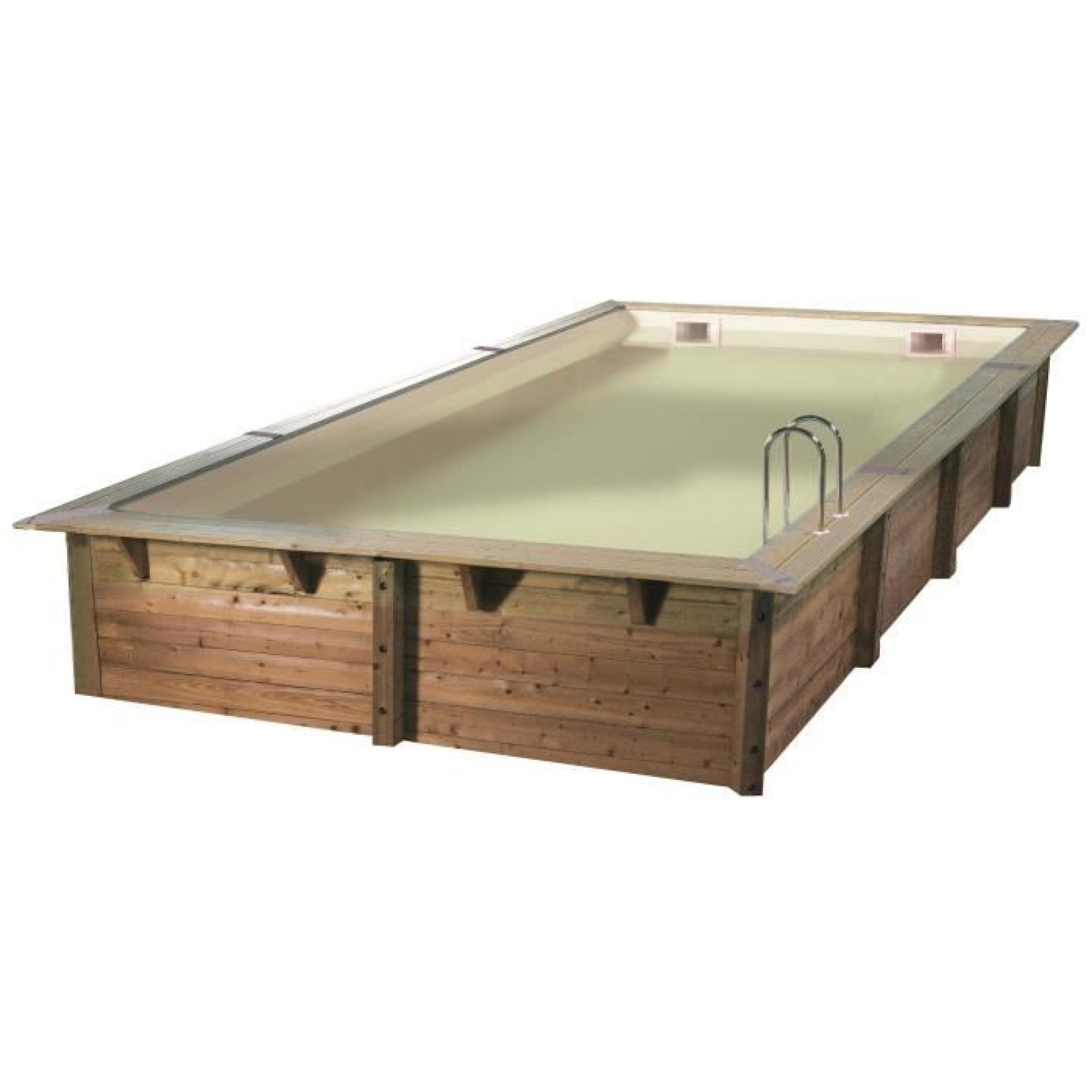 ubbink piscine octogonale en bois lin a 350x650xh140 cm