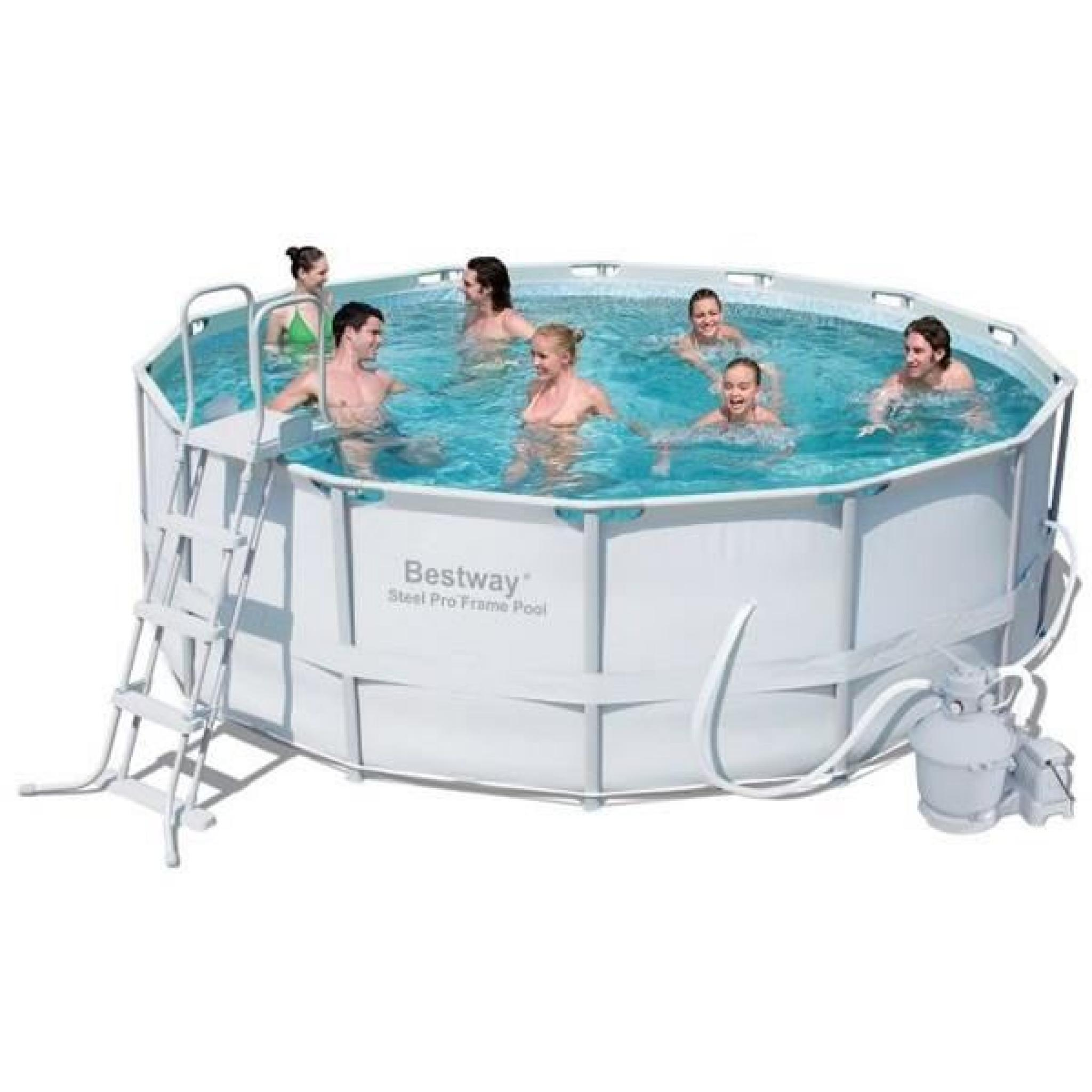 un kit piscine tubulaire ronde bestway de 100.100x10.10 M filtration a sable