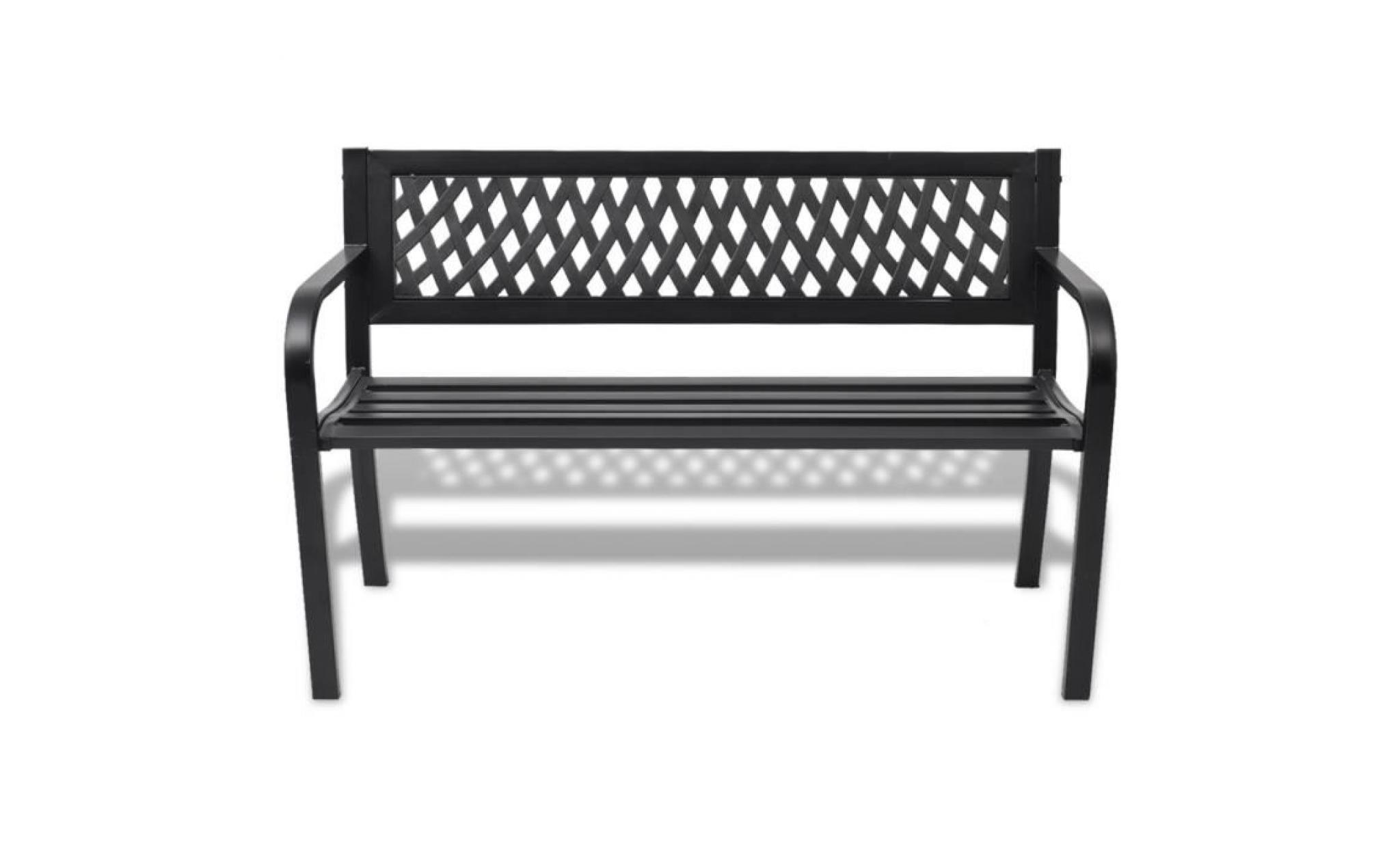 vidaXL Banc de jardin en acier noir - Achat/Vente banc de jardin en ...