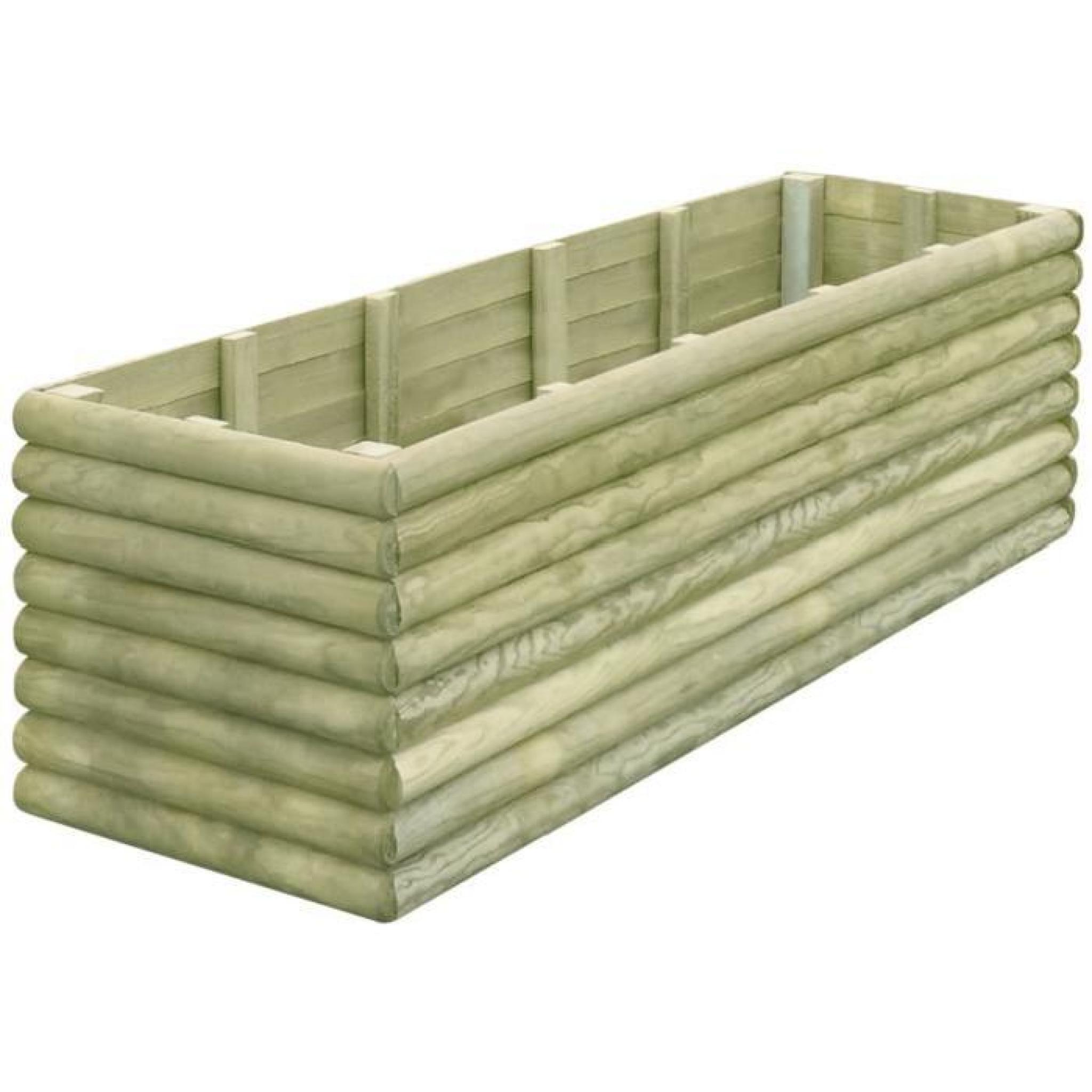 vidaxl jardini re 206x56x48 cm bois de pin impr gn achat vente jardiniere en bois pas cher. Black Bedroom Furniture Sets. Home Design Ideas