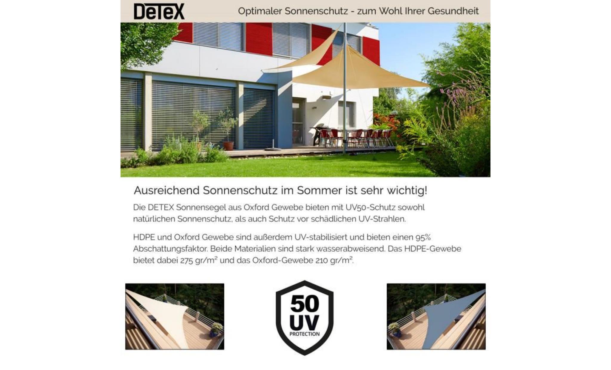 voile d 39 ombrage auvent oxford triangulaire 3x3x3m sable. Black Bedroom Furniture Sets. Home Design Ideas