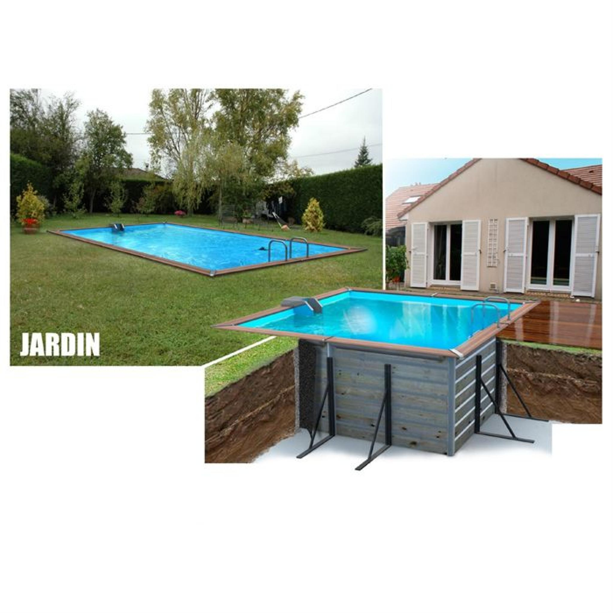 waterclip piscine bois alu 460x460x147 optimum achat. Black Bedroom Furniture Sets. Home Design Ideas