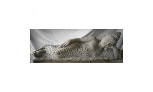 Decoration de jardin Wanda collection  - bouddha allongée statue en pierre naturelle 1 m 20 pas cher