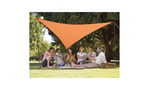 Voile ombrage  - Kit voile d'ombrage triangulaire 5,00 m terracotta pas cher