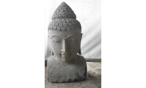Decoration de jardin Wanda collection  - statue de bouddha buste en pierre volcanique 70 cm pas cher