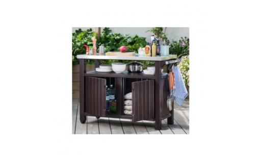 Abri buches Keter  - table coffre auxiliaire barbecue pas cher